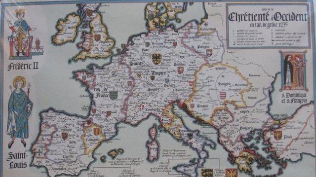 Mapa francés de 1235. Cataluña no aparece reflejada como tal. Lógico. Todavía ni siquiera existía