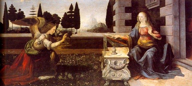 1472-75 Annunciation by Leonardo da Vinci, tempera on wood