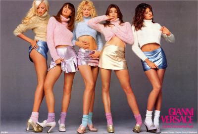 Nadia Auermann, Christy Turlington, Claudia Schiffer, Cindy Crawford, Stephanie Seymour, 1990.