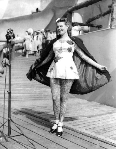 Tatuado Señora en la Feria Mundial de Nueva York en 1939.