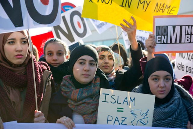 Demonstration outside Atocha Station against the recent Paris terrorist attacks on January 11, 2015 in Madrid, Spain. Arabs Culture Foundation (FUNCA) called for a demonstration with the support of more than fifty mosques under the slogan 'Against terrorism and radicalisms' in reaction to several terrorist attacks that started inside Charlie Hebdo magazine's office, and had taken the lives of seventeen people and three suspects in Paris this week/picture alliance