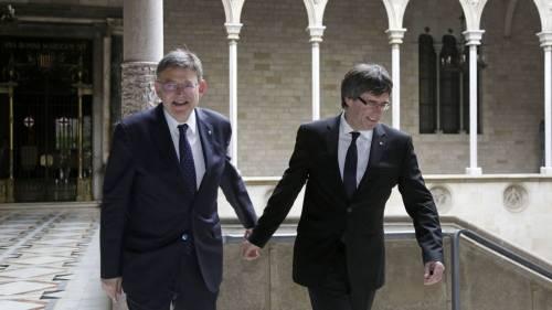 Ximo Puig con Puigdemont ambos por el separatismo